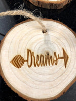 Arrow Engrave Word Wood Slice Ornaments - A Good Turn Colorado