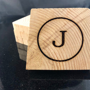 Customized Monogrammed Cedar Wood Coasters, laser engraved, set of 4