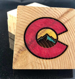 Cedar Coasters Engraved with Colorado Flag with Mountain (Set of 4) - A Good Turn Colorado