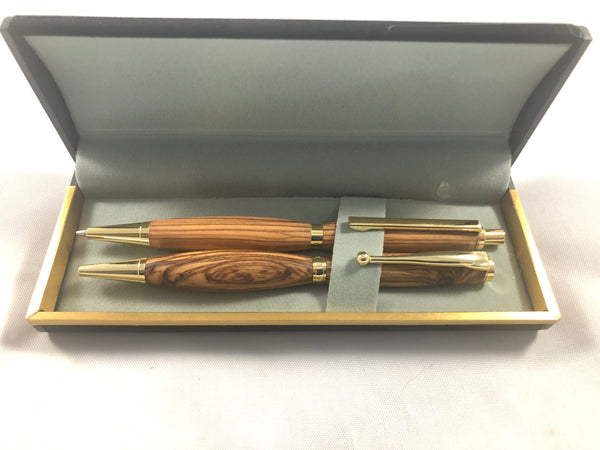 Olivewood pen and pencil set