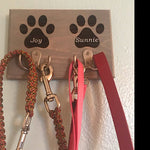 Custom Engraved Dual Pet Leash Holder with Hooks in Pine (available in 3 colors)