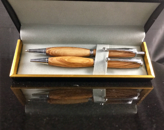 Olivewood Chrome Pen and Pencil Set