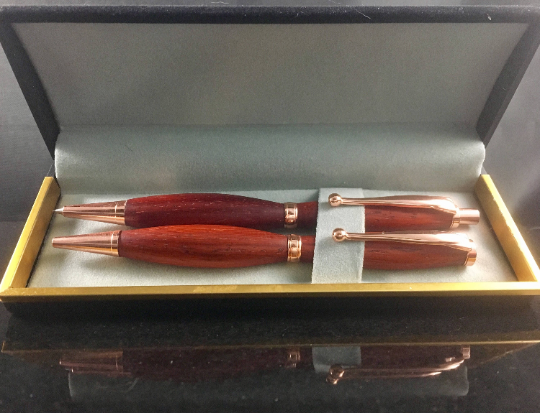 padauk copper pen and pencil set