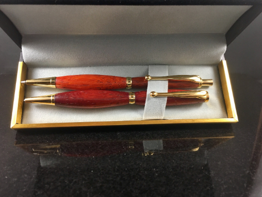 padauk wood and gold pen and pencil set