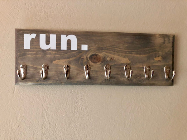 Runner Medal Holder (Aged Gray Stain/Silver Hooks) - A Good Turn Colorado