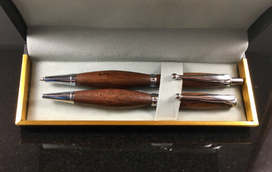 walnut chrome pen and pencil set