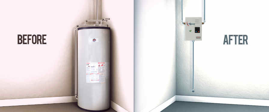 Titan water heater saves space