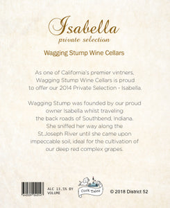 The Isabella - Wine label and story -label art back- Cork Tales