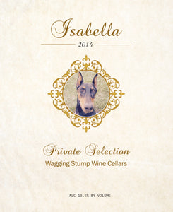 The Isabella - Wine label and story-label art front - Cork Tales