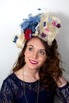 Womens red white and blue fascinator hat