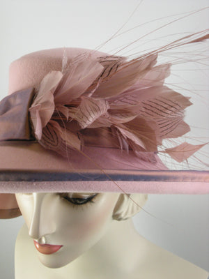 A Dressy Pink Wide Brim Wool Felt Winter or Spring Hat