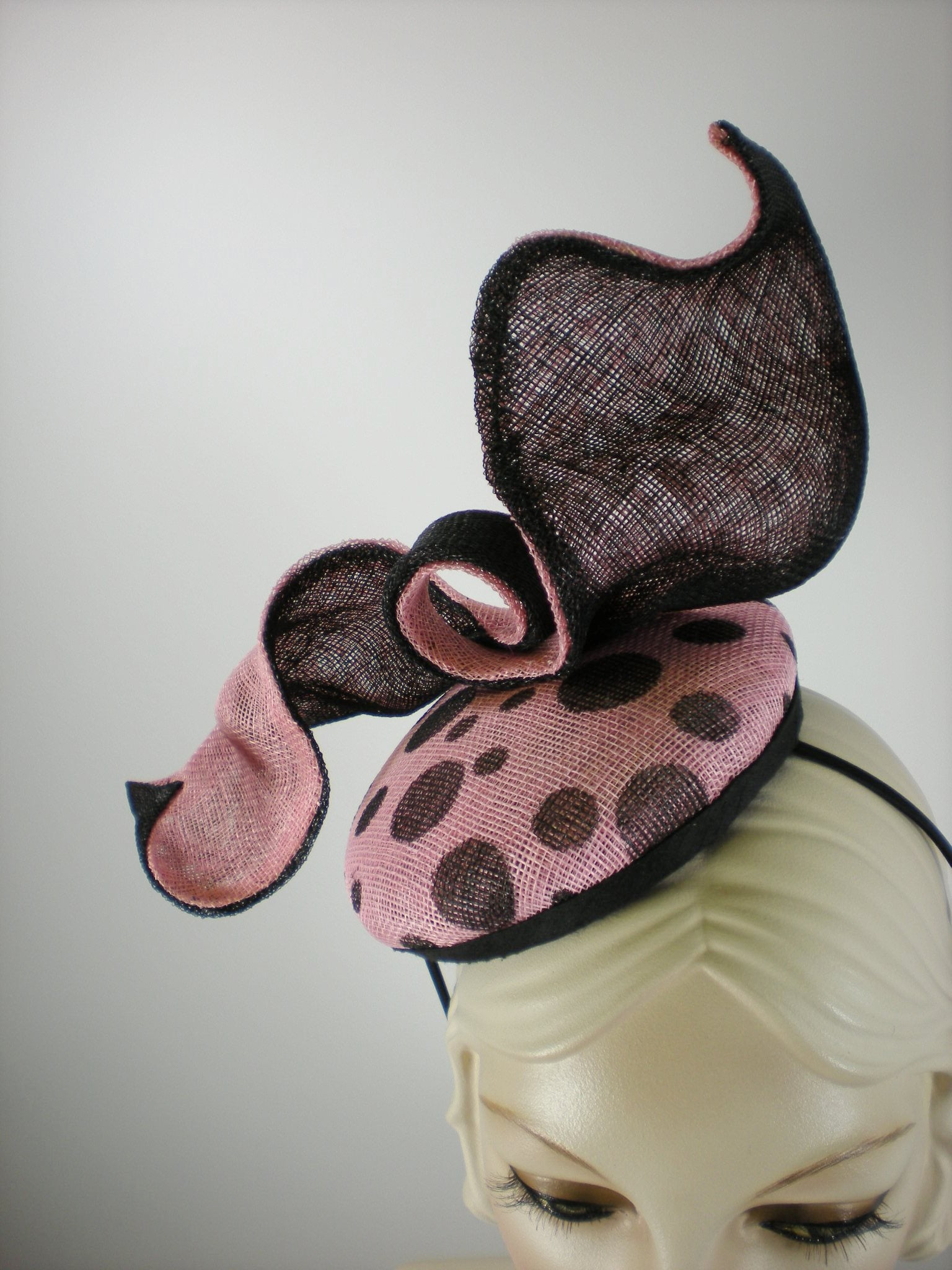 Women's Black and Pink Polka Dot Sinamay Fascinator Hat