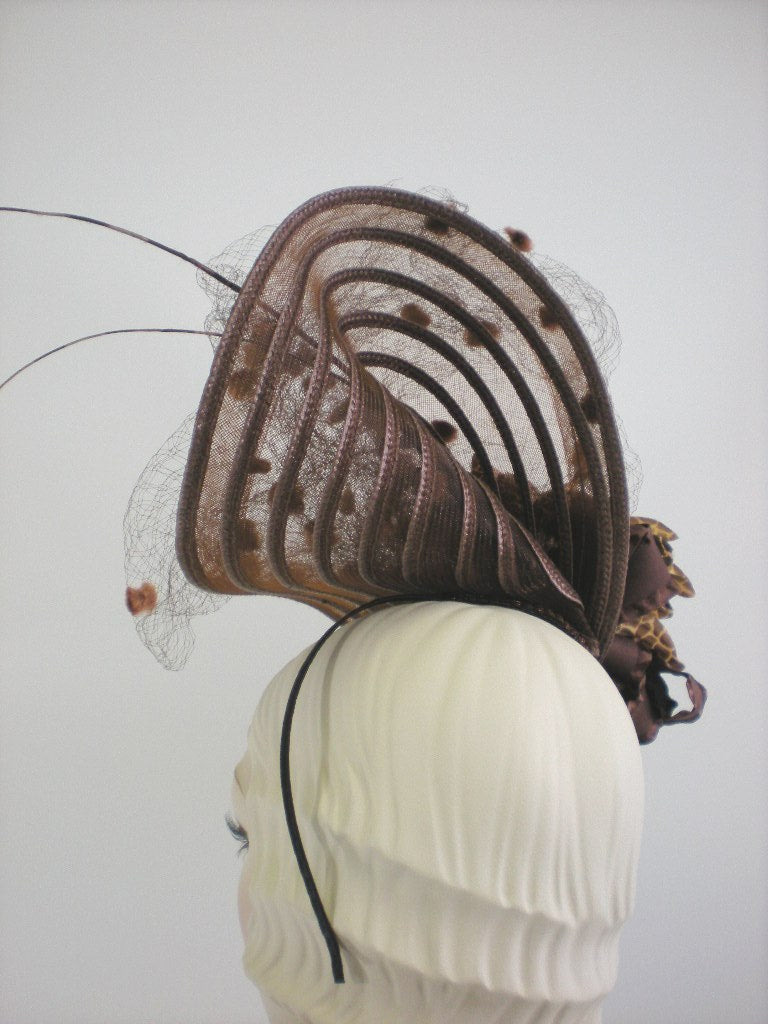 Kentucky Derby Brown Veil Fascinator Hat