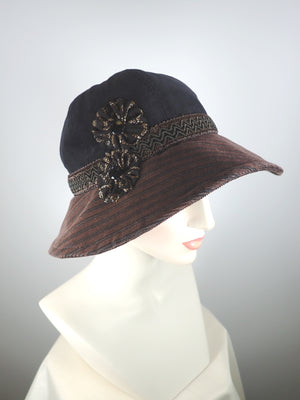 Women's Ladies 1920s Style Warm Corduroy Cloche Hat, Black and Brown Winter Miss Fisher Bucket Hat, What a Great Hat