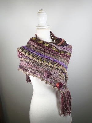 Gifts for Her - Womens Triangle Scarf Shawl - Chunky Crochet Wool Cowl Scarf - Hand Crocheted Scarf - Purple Scarf