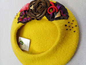 Womens gold yellow French beret Hat. Soft casual felted wool tam hat. Classic womens beret travel hat