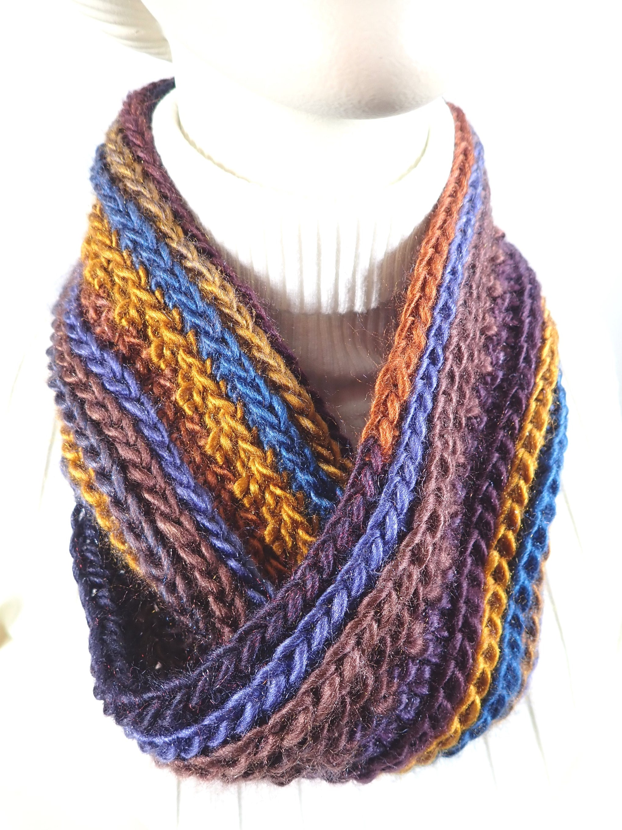 Blue brown purple and caramel handmade infinity scarf