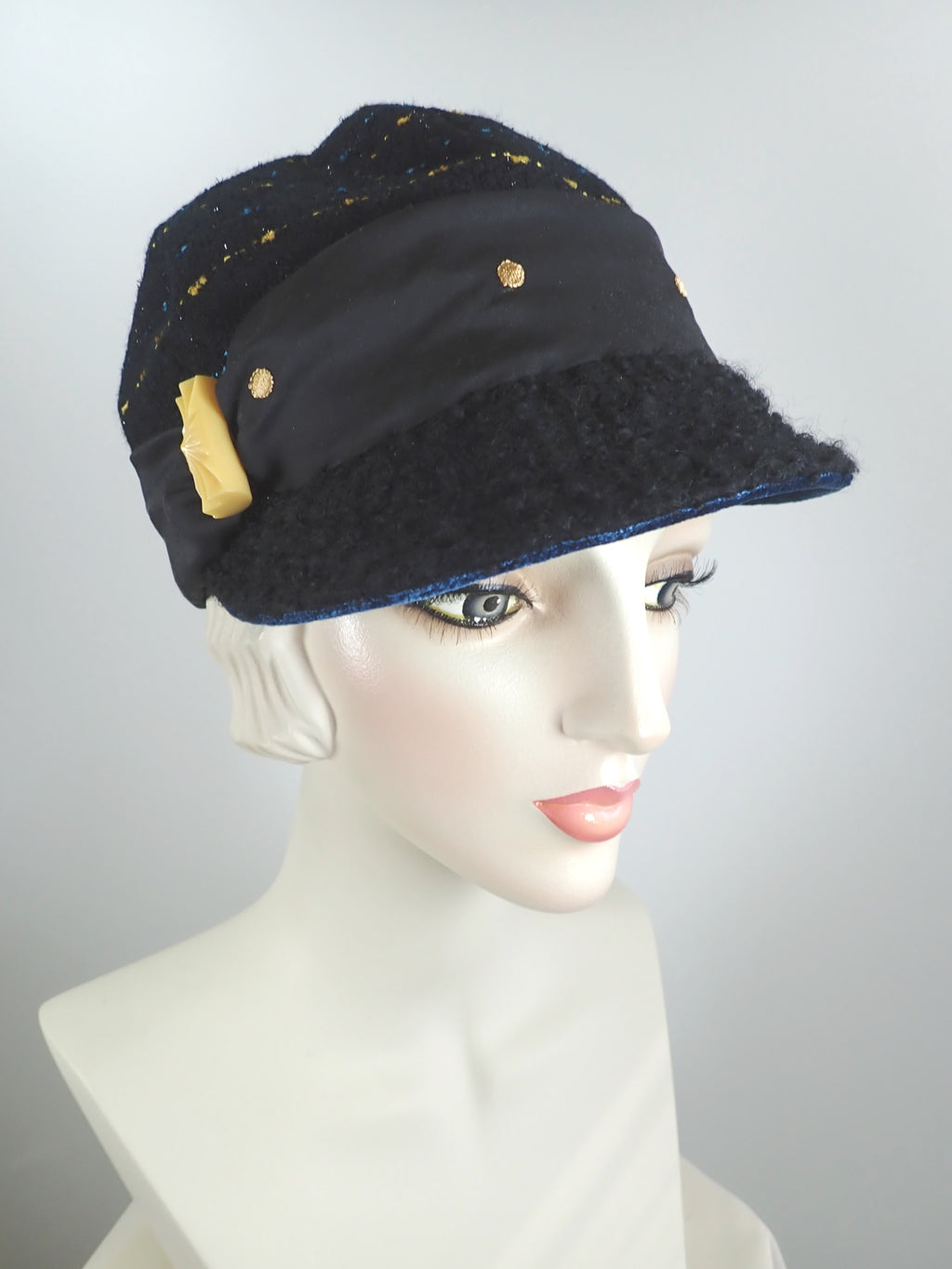 Women's fall and winter black, gold and blue wool boucle baseball style newsboy cap