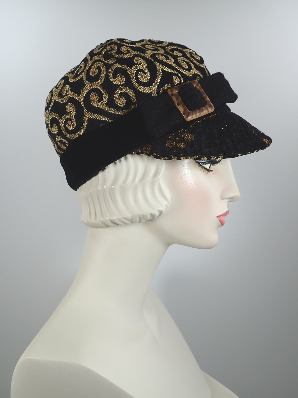 Women's Fall and Winter Cotton Velveteen Hat in Gold and Black - Baseball Style Newsboy Cap