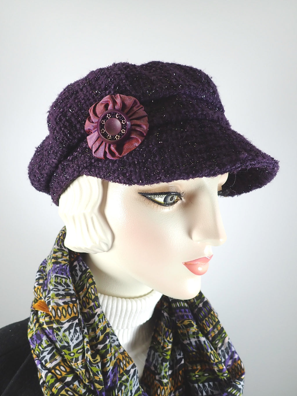 Womens Purple Hat Boucle Newsboy Hat. Ladies Purple Sparkle Cap, Womens Slouchy Hat Purple Newsboy Hat. Casual Ladies soft hat. Travel cap.