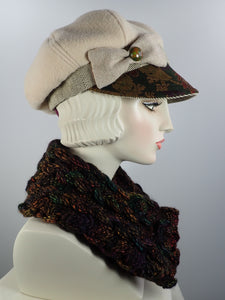 Chunky handmade cowl scarf in blac with flecks of green, carmel, brown, rust gold