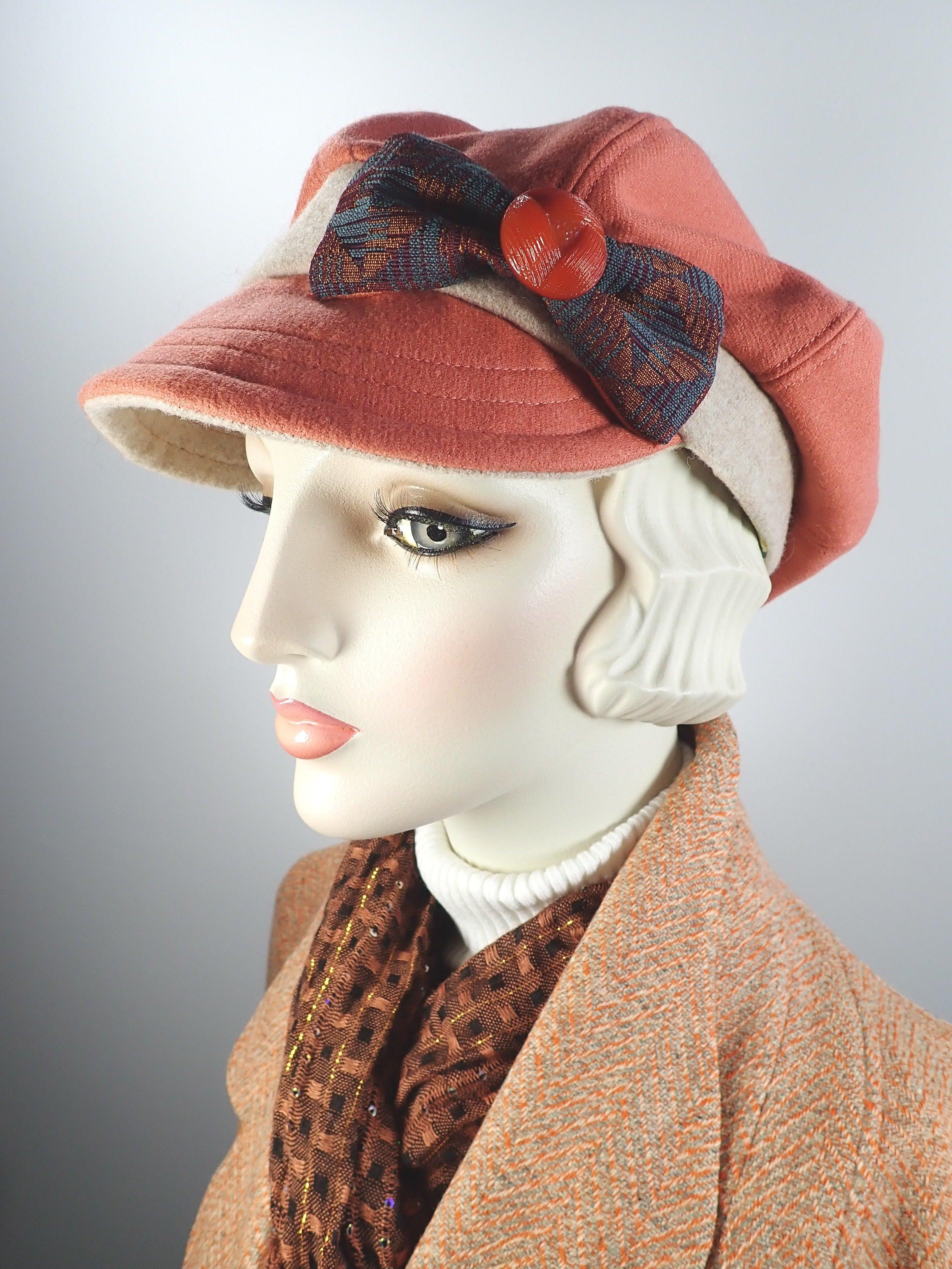 Womens orange recycled cashmere newsboy hat