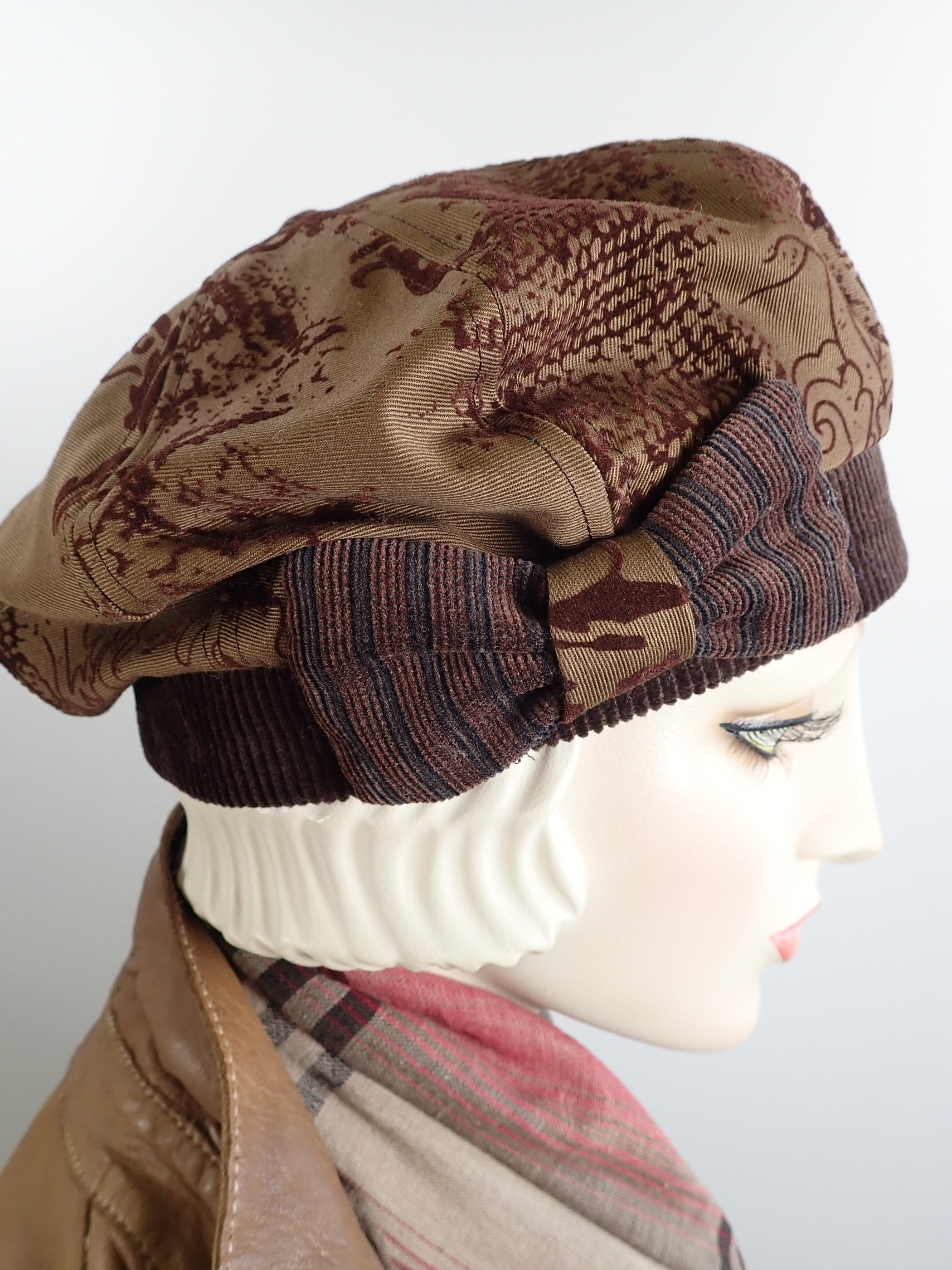 Classic brown flocked denim and Corduroy beret hat women
