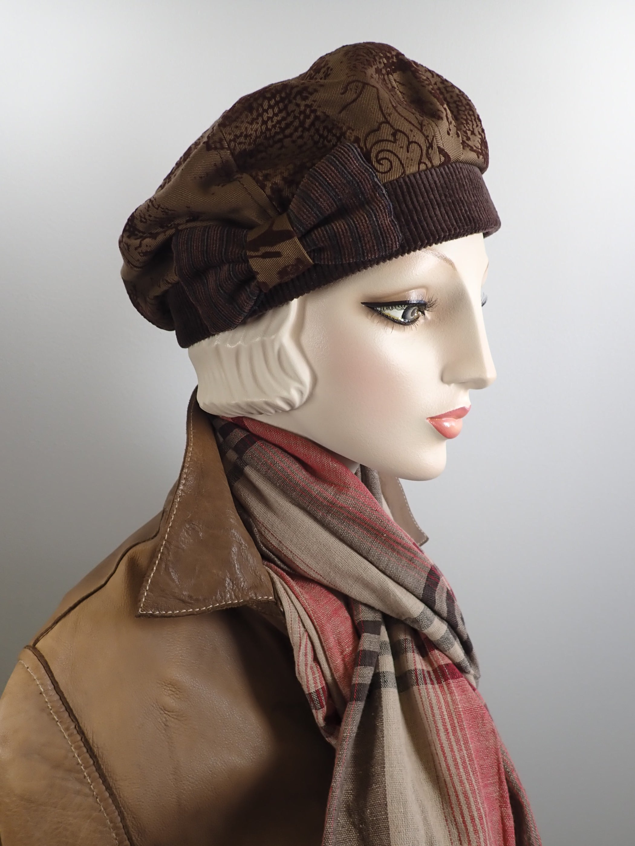 Womens brown winter denim beret. Cozy brown ladies tam hat. Chic casual soft fabric beret hat. Shabby chic Gatsby womens hat.
