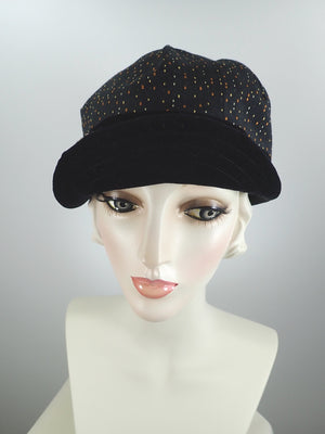 Women's Fall and Winter Hat in Gold Orange and Black - Baseball Style Newsboy Cap