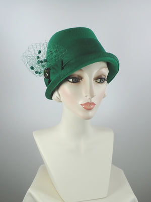 Womens Kelly Green Cloche Hat, Downton Abbey Hat, 1920s Wool Felt Brim Hat, Ladies Church Hats, Wool Hats Women, What a Great Hat