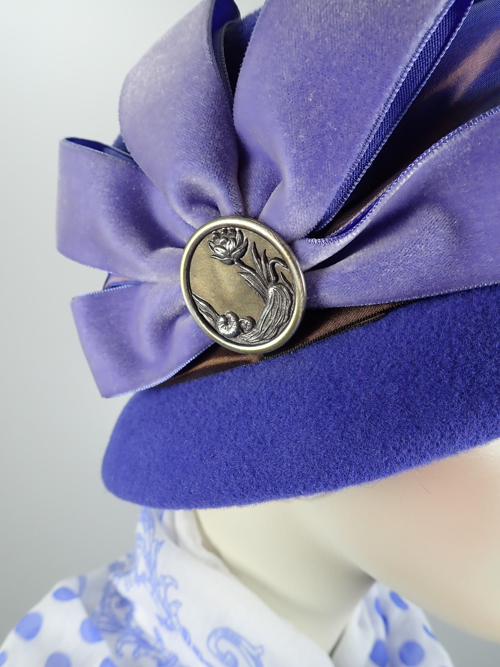 Blue Mad Hatter hat for women with vintage ribbon band and velvet bow