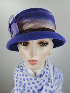Blue wool felt handmade mad hatter cloche hat for women
