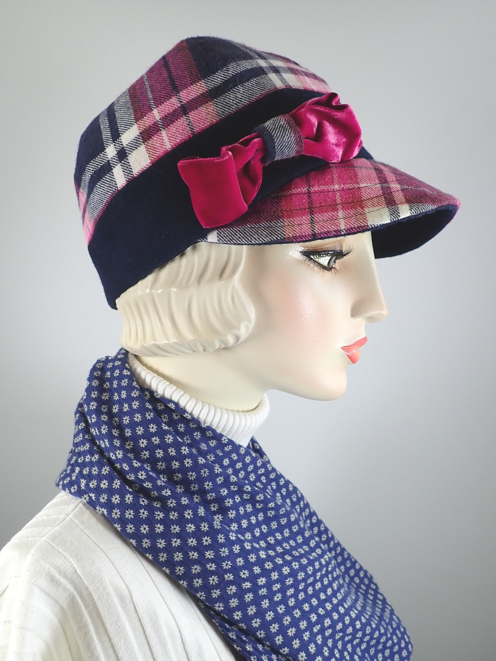 Navy, pink and white plaid flannel baseball cap pink vintage velvet bow