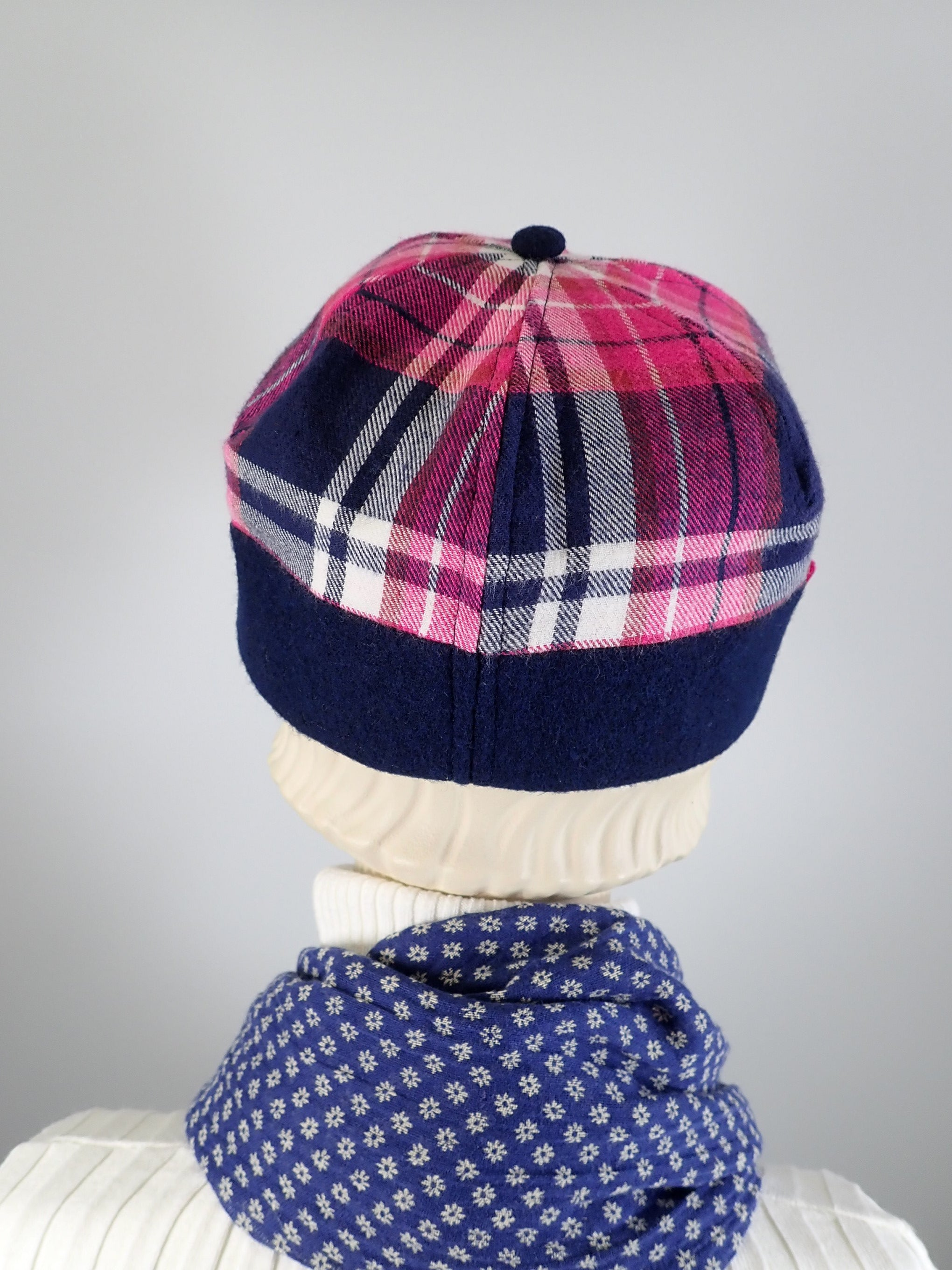 Women's winter hat pink and blue plaid newsboy baseball style. Casual comfy ladies hat. Stylish soft fabric hat.