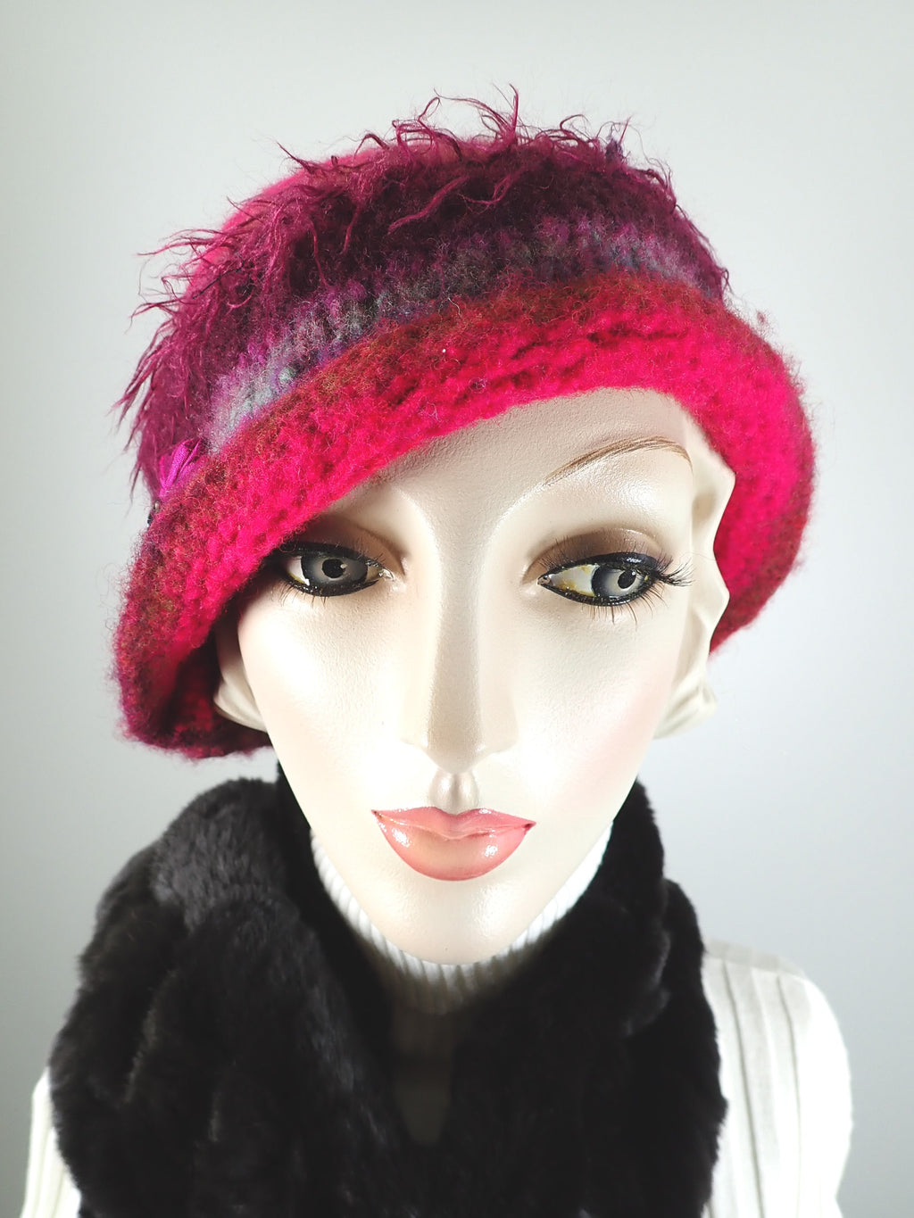 Womens pink and purple Boiled wool knit felt hat. Funky warm winter cloche hat. Gatsby flapper hat.