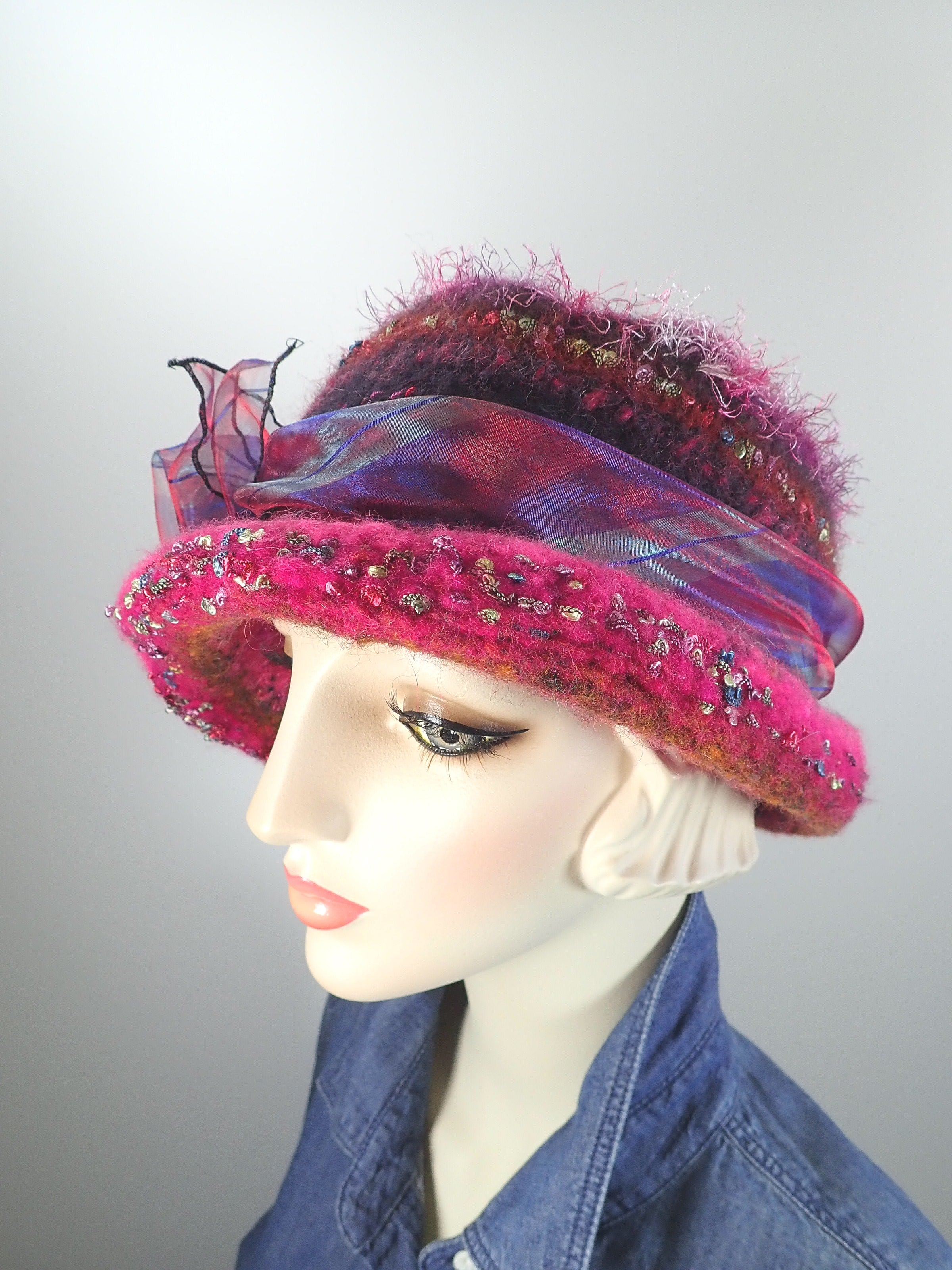 Womens pink boiled wool felt knit hat. Pink and blue warm winter cloche. Funky casual cloche hat. Gatsby flapper style hat.