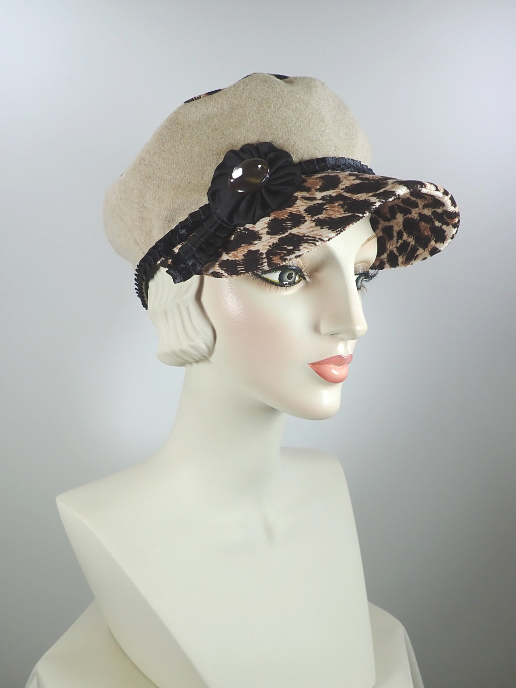 Large leopard print and tan wool military newsboy cap
