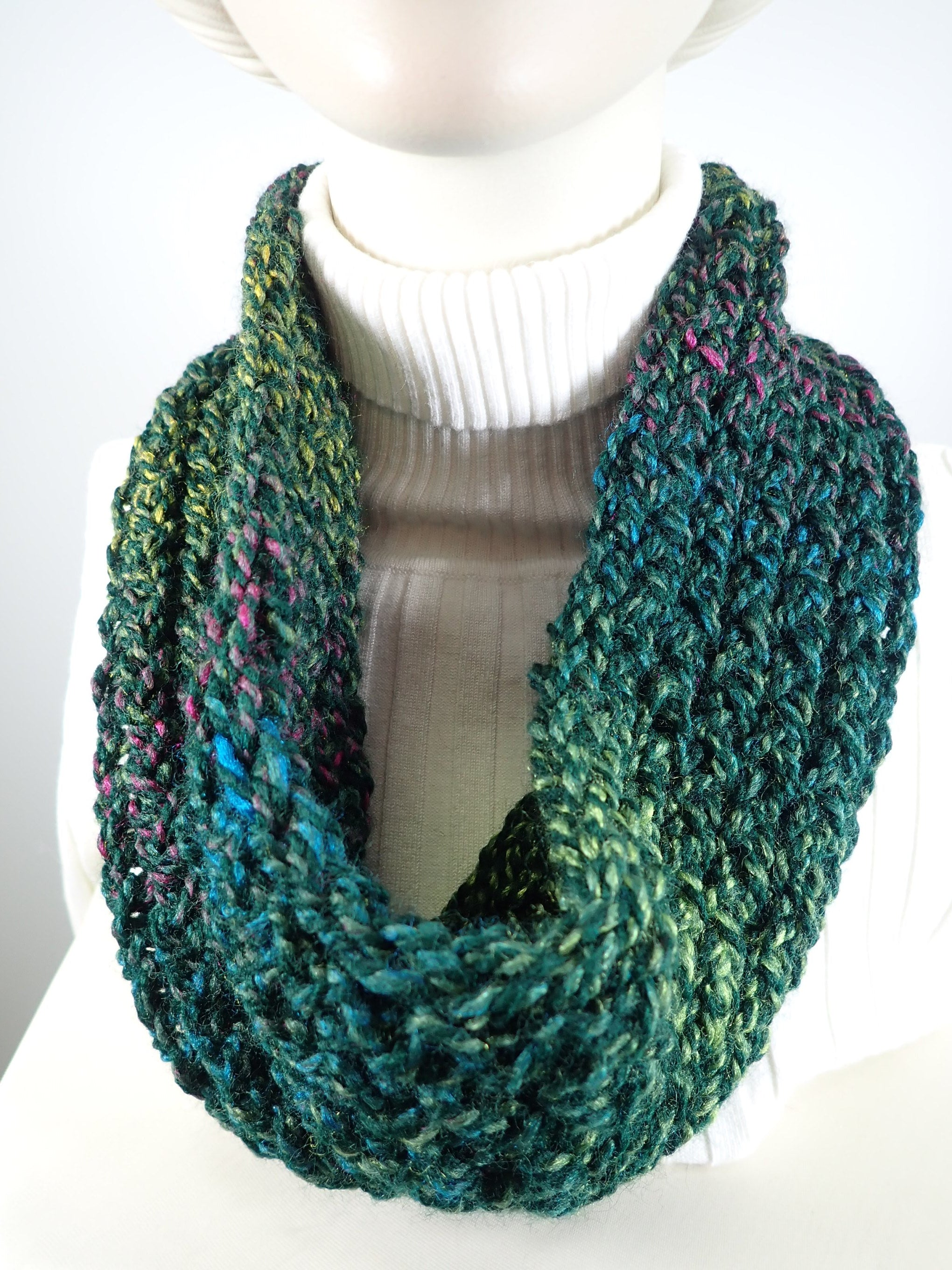 Chunky green hand knitted cowl scarf one of a kind