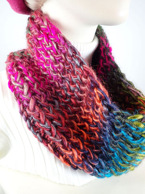 Gifts for her. Hand knitted cowl scarf. Multi color ladies scarf. Soft warm cowl scarf. Vivid acrylic yarn cowl scarf. Womens gift ideas