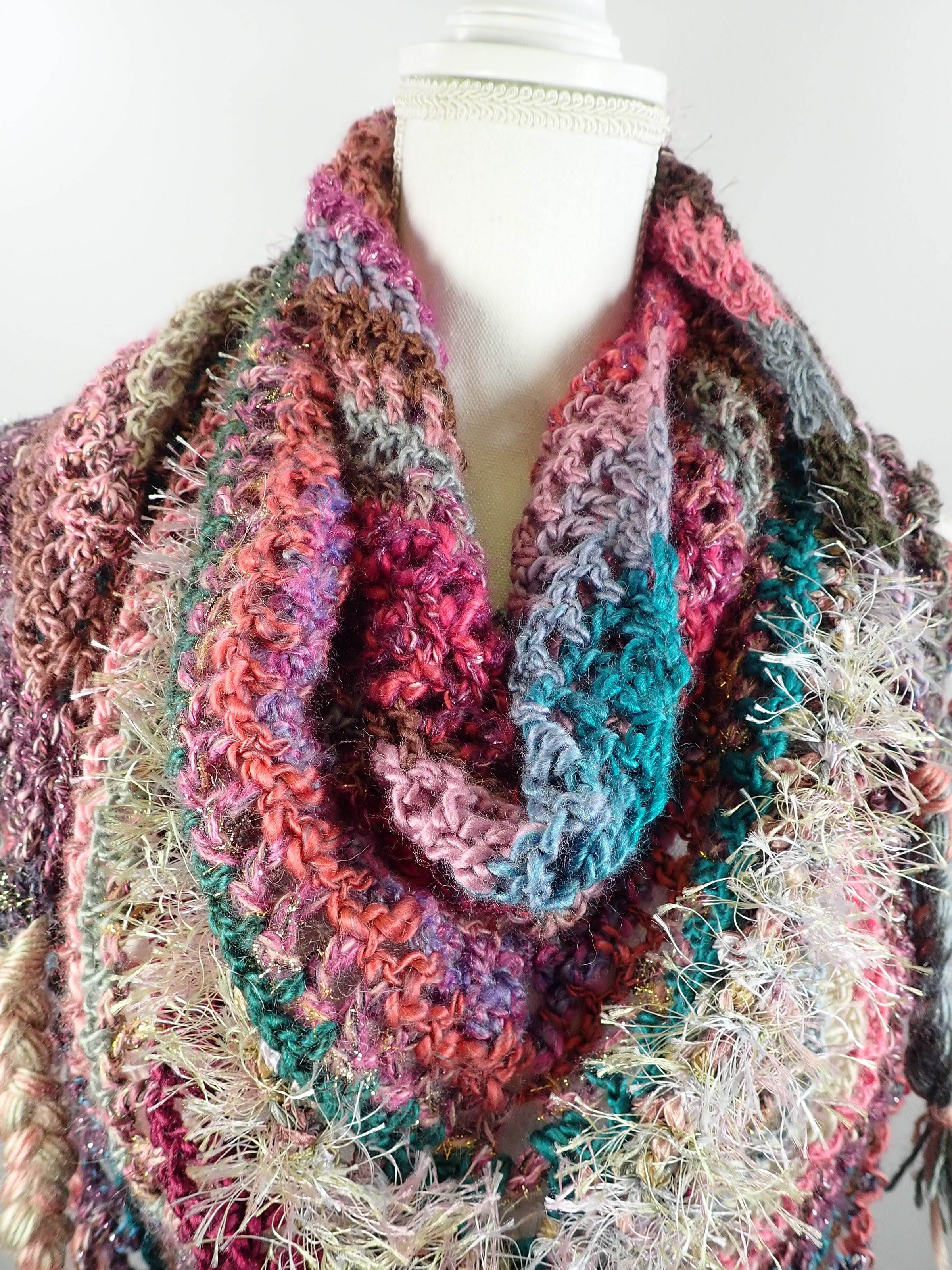 Gifts for Her. Womens Triangle Scarf Shawl. Chunky Crochet Wool Cowl Scarf. Hand Crocheted Scarf. Colorful triangle Scarf. Granny squares