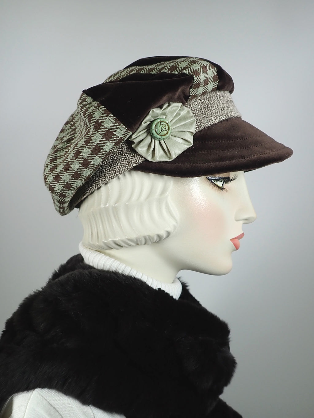 Womens pistachio green and brown newsboy hat