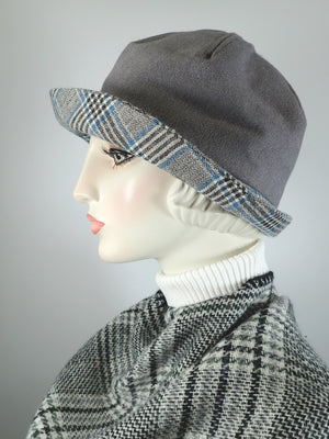 Womens Warm Winter Wool Cloche Hat. Ladies fabric Bucket Hat. 1920s flapper hat. Slow fashion. Gray, blue and white hat. Great Gatsby hat