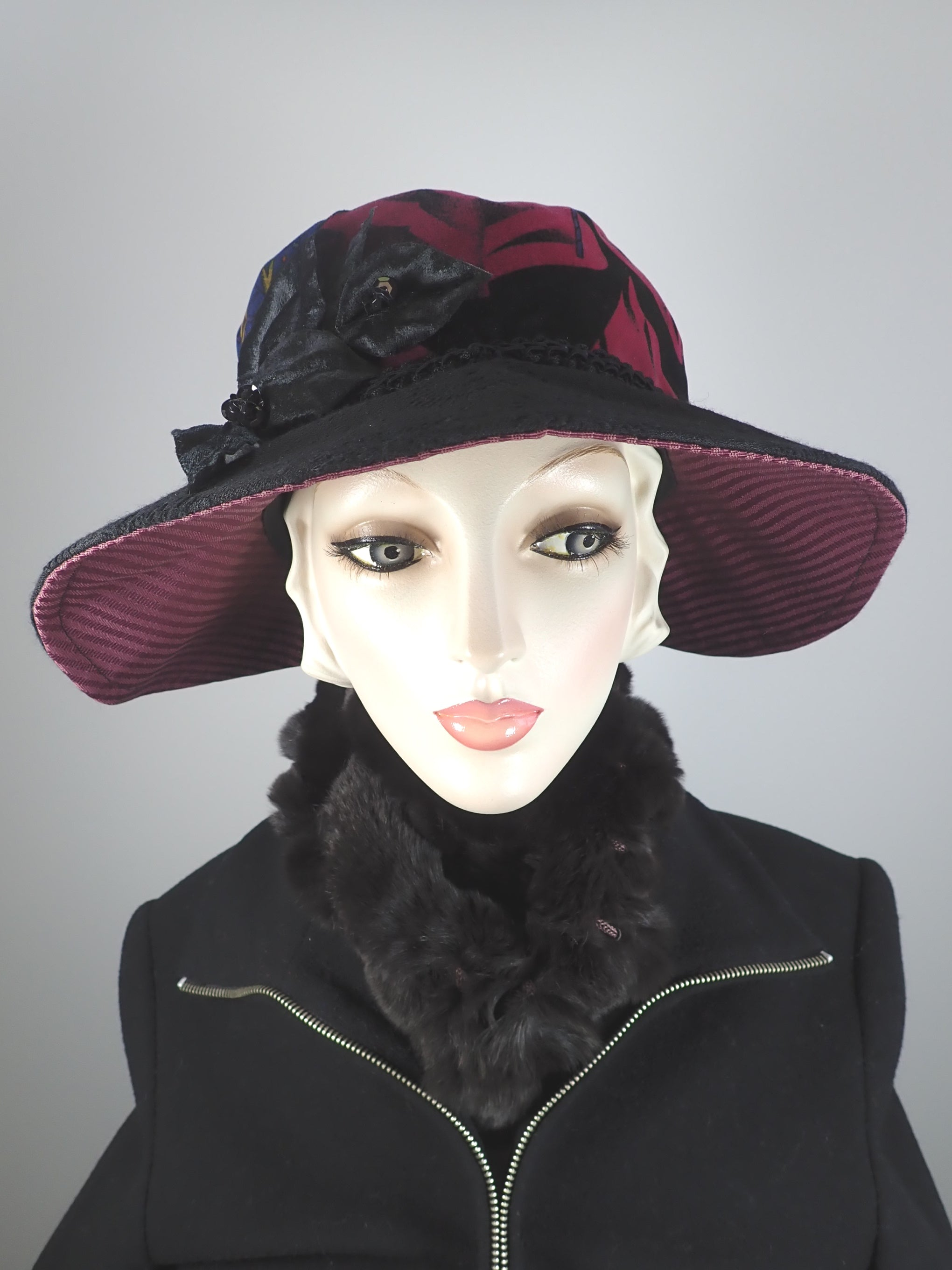 Velvet and wool slow fashion downton abbey medium brim hat black and burgundy