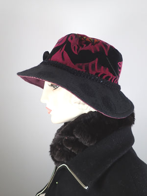 Slow Fashion Hat. Downton Abbey Medium brim hat. Womens Velvet statement hat. Burgundy and black dressy womens hat.