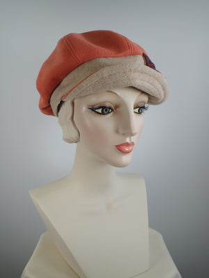 Womens Orange Cashmere Newsboy Hat, Womens Slouchy Newsboy Cap, Ladies Warm Winter Hat, What a Great Hat