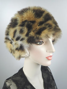 Womens Hat Faux Fur Cloche. Ladies Warm Leopard Hat. Beige and black leopard print cloche. Handmade fake fur hat