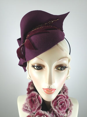 Burgundy Felt Free form Hand Sculpted Fascinator For Fall and Winter