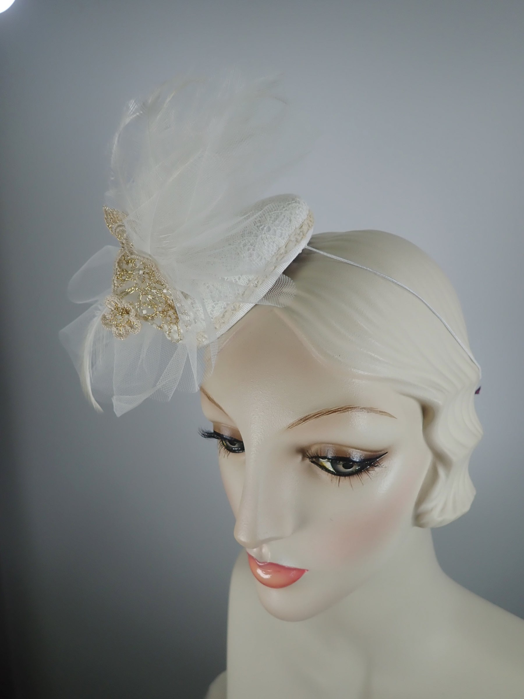 Off white Fascinator for Wedding or Spring Events
