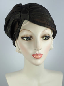 Classic pleated silk turban hat for women