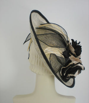 Black and Metallic Gold Kentucky Derby Fascinator Hat for Women - Church Hat - Ladies Tea Hat - Sinamay Hat